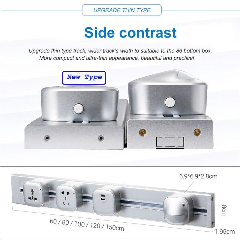 JOHO 100CM aluminium prise murale maison intelligente double USB Port chargeur adaptateur 8000W rectangulaire ue prise prise prise de courant - 4