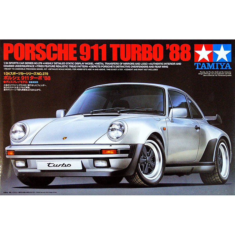 1 24 Scale Assembly Car Model 911 Turbo Sports Car 1988 Tamiya 24279