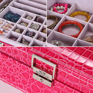 Image 2 - Guanya Brand Leather Storage Boxes Square Shape Wood Jewelry Box Wedding Gift Makeup Storage Bin Earrings Ring Organizer