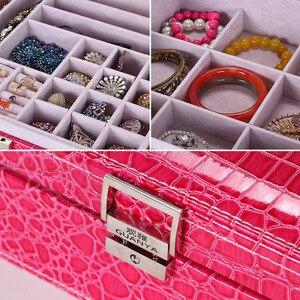 Image 2 - Guanya marca caixas de armazenamento de couro forma quadrada caixa de jóias de madeira presente de casamento maquiagem armazenamento bin brincos anel organizador