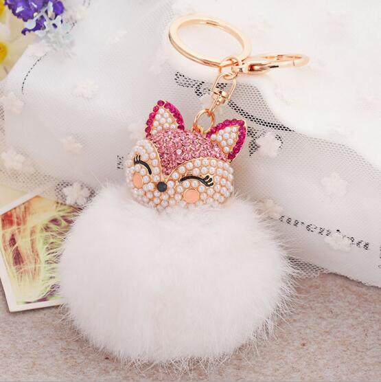 Onnea Ali Fur Pom Pom Keychain Cute Bling Crystal Fox Rabbit Fur Ball  Fluffy keychain Car Key Chain Ring Pendant For Bag Charm f36419456c68
