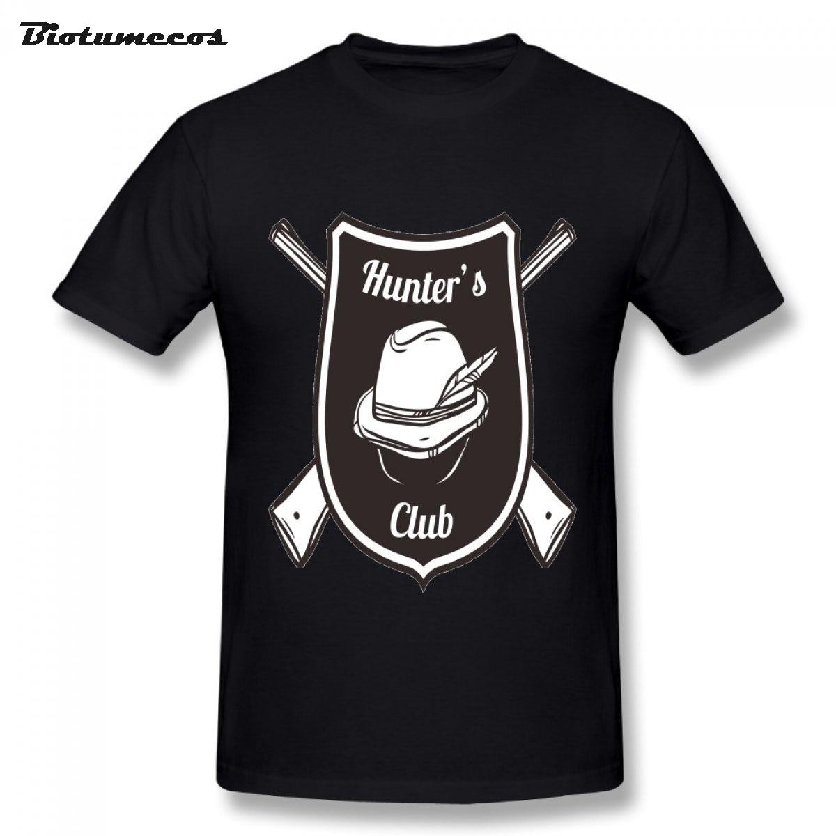 Охотник Club логотип с охотника hat взрослых teenboys Футболки 100% хлопок короткий рукав Футболки Верхняя часть одежды для мужчин MTWQ088