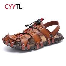 CYYTL Men Summer Beach Sandals Leather Breathable Slippers Male Classic Roman 2019 Fashion Outdoor Rubber Flip Flops Sandalias