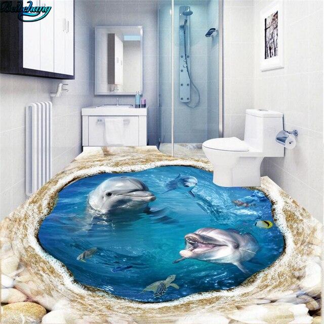 Beibehang Large Customized Artistic Dolphin Underwater 3D Floor Living Room Bedroom Kitchen Bathroom Decorated