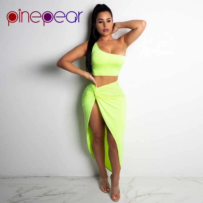 8da3f2efcae1f ... Kim Kardashian Dress for Women One Shoulder Crop Top and Draped Split  Skirt Sets 2019 New ...