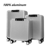100% Aluminium TSA lock rolling luggage spinner metallic suitcase trolley bags hardside luggage