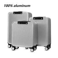 100% Aluminium TSA lock rolling luggage spinner metallic suitcase trolley bags hardside luggage