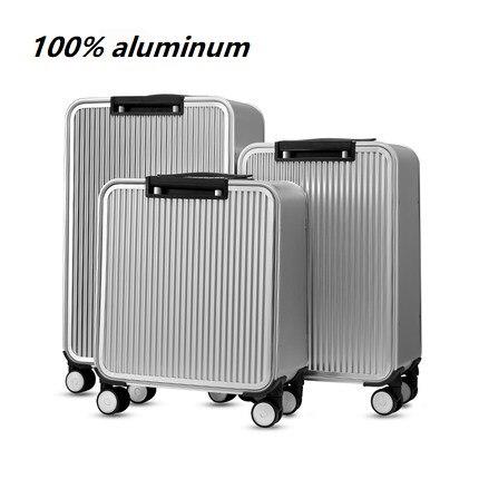 100% Aluminium Tsa Schloss Roll Gepäck Spinner Metallic Koffer Trolley Taschen Hardside Gepäck Letzter Stil
