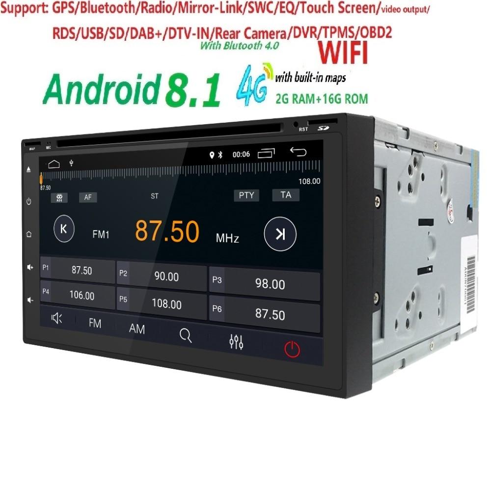 Nouveau 7 pouces universel 2G RAM Quad Core 4G Wifi miroir lien Android 8.1 voiture DVD lecteur Radio soutien DVR DAB + TPMS EQ RDS IGO carteNouveau 7 pouces universel 2G RAM Quad Core 4G Wifi miroir lien Android 8.1 voiture DVD lecteur Radio soutien DVR DAB + TPMS EQ RDS IGO carte