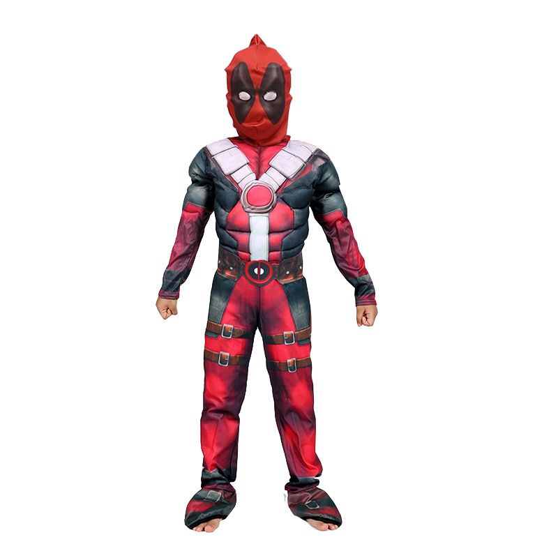 New Halloween Party Superhero Deadpool Children Muscle Cosplay Costume Performances Fancy Dress Carnival Party Disfrace