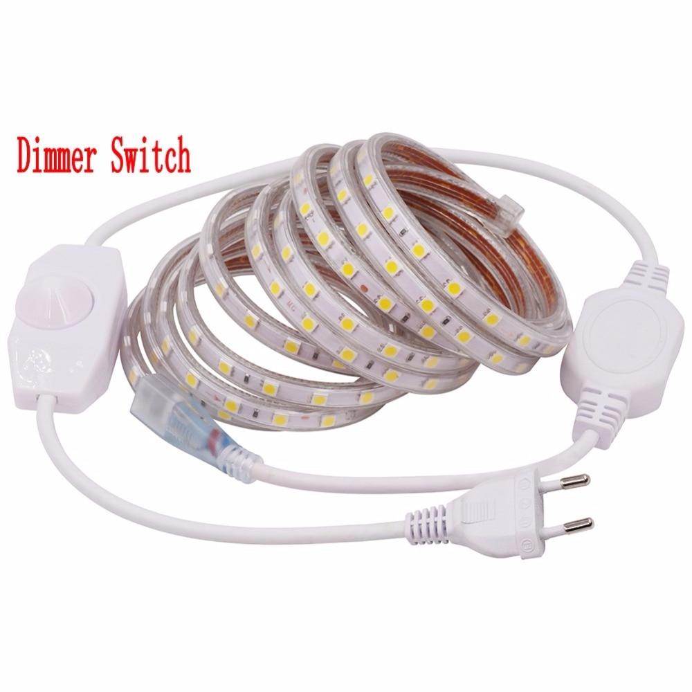 Pode ser escurecido SMD 5050 AC 220 V led Luz de tira Flexível 1 M/2 M/3 M/4 M/5 M/10 M/15 M/20 M/25 M + Plug Dimmer 60 60leds/m Fita led À Prova D' Água