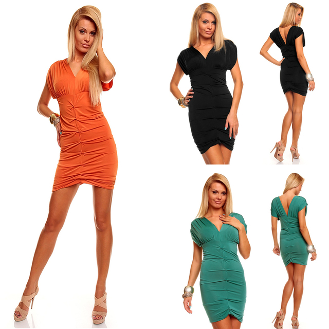 2014 New Fashion Women Sexy Deep V Neck Short Sleeve Ruched Summer Casual Dress 8549