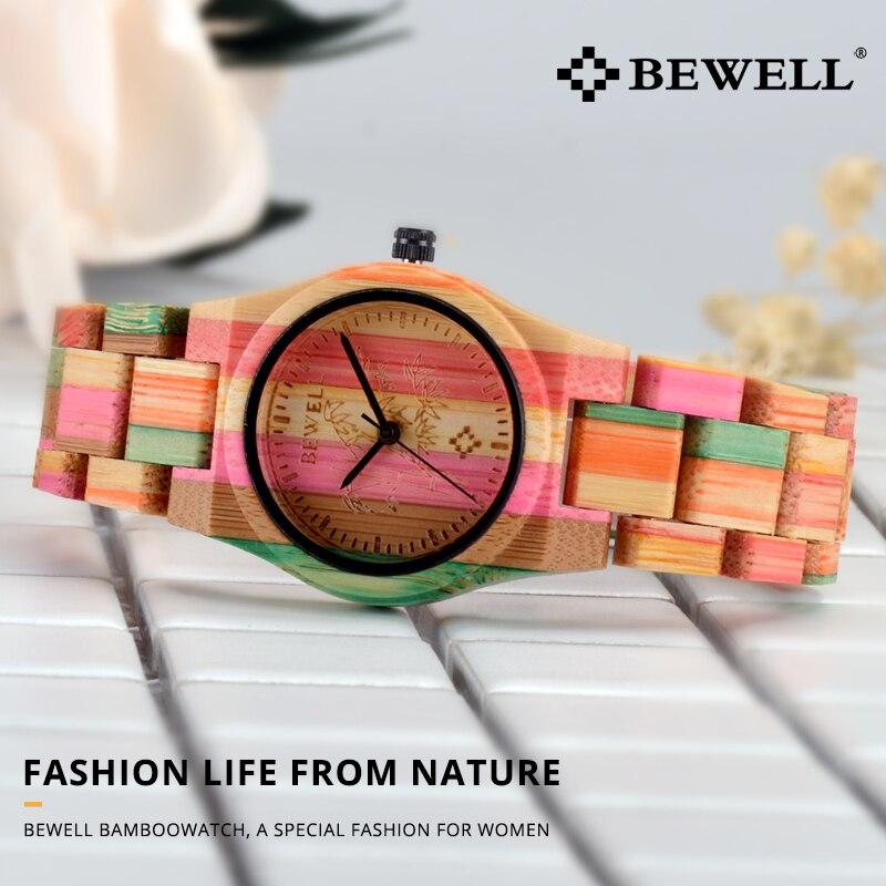 Image 2 - BEWELL 105DL Nature Handmade Colorful Bamboo Wood Watch Women Analog Quartz Fashion WristWatch with Mix Colors Free Shippingwristwatch womenwristwatch quartz watchwristwatch wood -