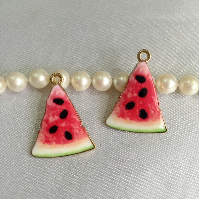 27*20MM 40Pcs/Pack Watermelon Style Glazing Pendant KC Gold Alloy Jewellery Charms Jewelry Pendants image
