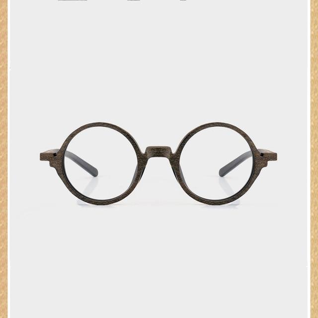 5e50bc22492 vintage small round glasses Optical wooden eyeglasses frame eyewear with  heavy black frames prescription spectacles myopia