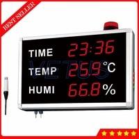 HE223H 2 в 1 Цифровой термометр гигрометр большой ЖК дисплей Дисплей Температура измеритель влажности внешний 3 м Сенсор будильник