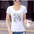 2017 Summer The Beatles Ladies T Shirt T-Shirts Imagine Print Rock And Roll Hip Hop Short Sleeve Slim Clothes For Women Skullies