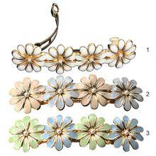 Korean Ladies Vintage Wedding Hair Clip Four Metallic Flower Baking Paint Glitter Ponytail Clamp Imitation Pearl Spring Hairgrip