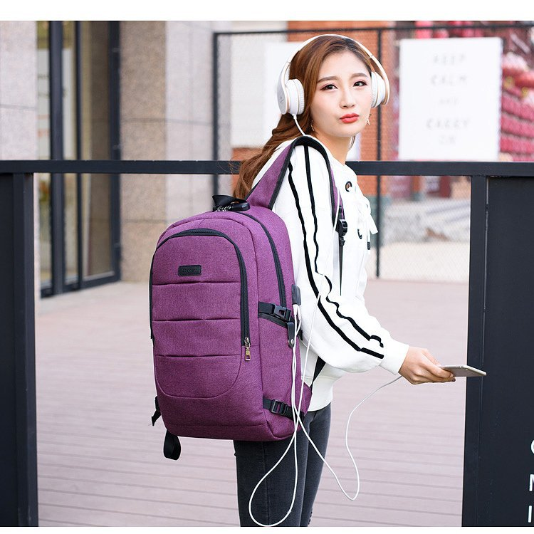 Waterproof Resistant Polyester Laptop Backpack With Usb Charging Port And Lock &headphone Interface For College Student Bagpack #4