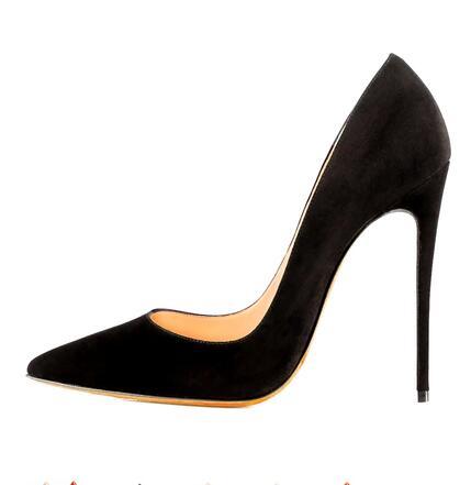 Black Suede Pump Pointed toe 120MM Thin Heel Fashion Women Slip-on Stiletto  Heel Dress deab918b6224