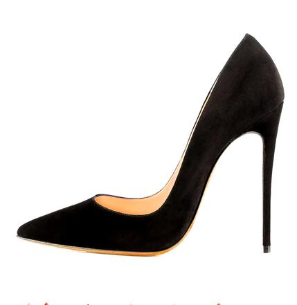Sexy Black Suede Pointed toe Pumps 12