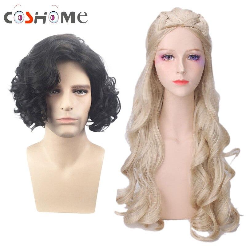 Coshome Game Of Thrones Season 7 Daenerys Targaryen Jon Snow Cosplay Wigs For Halloween Party Women 75CM Men 36CM