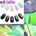 5 Hojas de 3D Holográfico Láminas de Vidrio Roto Espejo Pegatinas de Dedo Del Arte Del Clavo Brillo Stencil Calcomanía DIY Diseño Manicura Herramientas