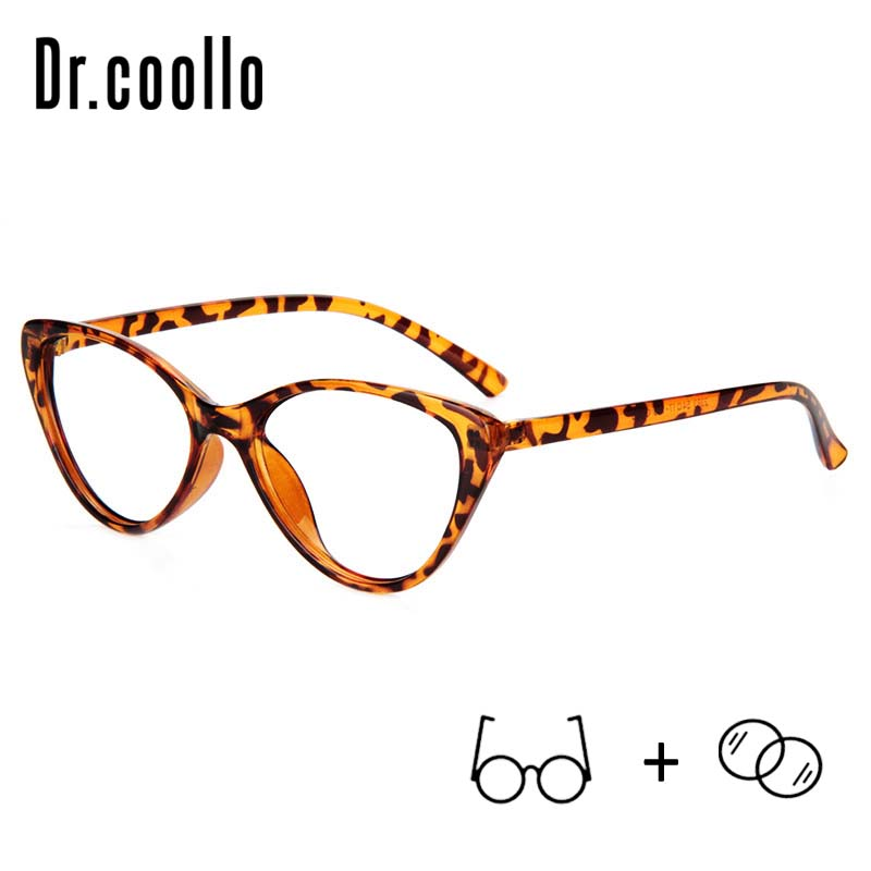 Drcoollo Cat Eye Multicolor Leopard Progressive Photochromic Eyeglasses Prescription