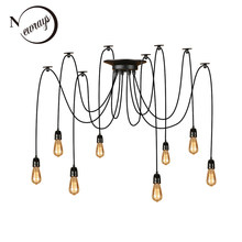 Modern big Spider Industrial Ceramic lampholder black vintage pendant Lamp Loft led 14 Lights E27 pendant lights for living room(China)