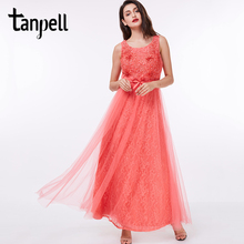 Tanpell appliques long prom dress watermelon scoop sleeveless floor length dresses cheap lady beaded sashes graduation gown