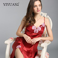 100% Natural Silk Nightdress Feminino Upscale Verão Bordado Com Decote Em V Camisolas Real Silk Mulheres Pijamas D33130