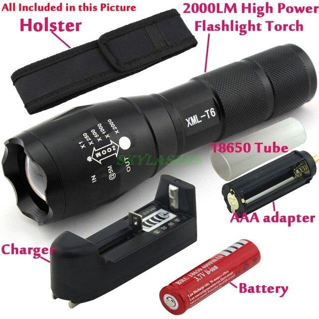 E17 CREE XM-L T6 2000 Люмен Масштабируемые LED Фонарик Факел свет + 1*4000 мАч 18650 Аккумуляторная Батарея + зарядное устройство + кобура