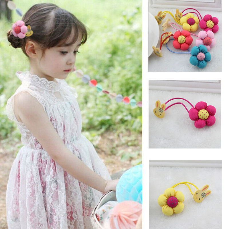 girls Headwear Kids Girls Jewelry Rabbit Flower Hair Tie Hair Rope Elastic Hair Band Gum girls Hair Accessories