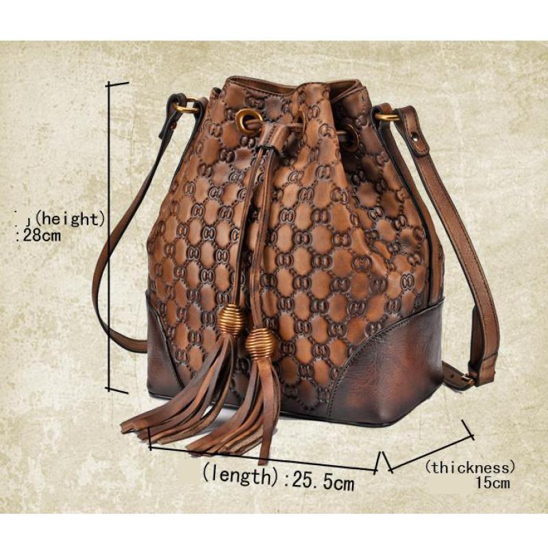 Новинка 2019, женские сумки, сумка мешок из натуральной кожи, винтажные универсальные сумки на плечо и через плечо, модные сумки - 4