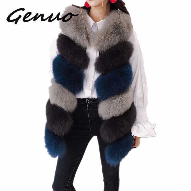Genuo New 2019 Autumn winter warm vest high quality faux fur coat fashion jacket woman import Female long clothes