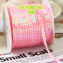 Ribbon Confetti Sequin Trim 6mm of AB PVC 100-Yards 1-Roll Sold-Per-Packet -Lightpink