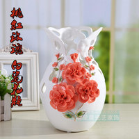 Jingdezhen handmade white porcelain hollowed vase modern home decorations new room living room