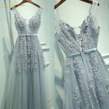 Grey Blue Slight Evening Dress 2019 Tank V neck Appliques Lace Gown Long Formal Evening Dress In Stock Prom Dress abendkleider(China)