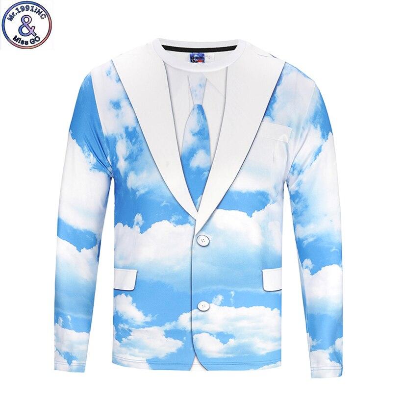 Mr.1991 New arrive fashion cool Big kids long sleeve t-shirt sky blue 3D printed boys t shirt childrens tops CT9