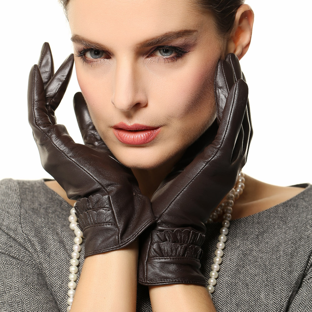 Long black leather gloves prices - Sale Brand Women Leather Gloves Warm Winter Lady Genuine Sheepskin Glove Fashion Wrist Lace Solid Black