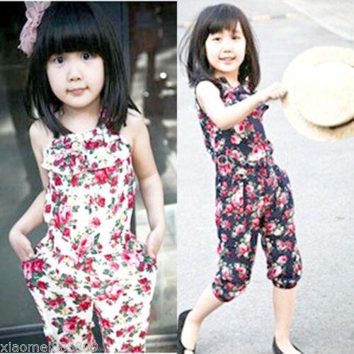 2c90c6105d0d Girls Kids Toddler Floral Jumpsuit Short Summer Playsuit Cute ...