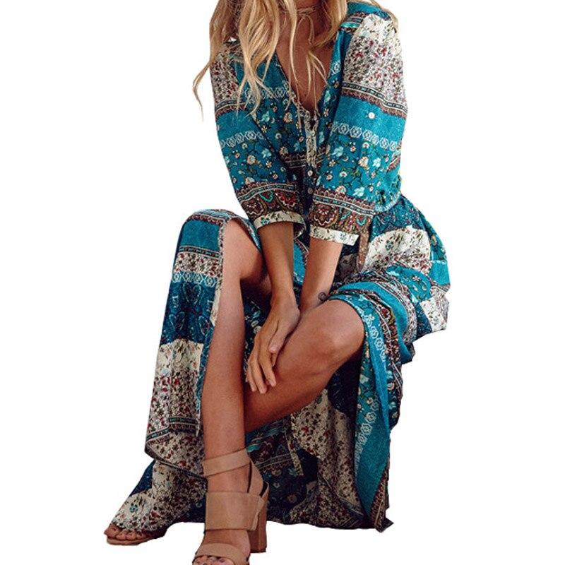 2018 nueva impresión Bohemia mujeres maxi vestido largo floral retro hippie vestidos boho de la ropa de la marca del vestido