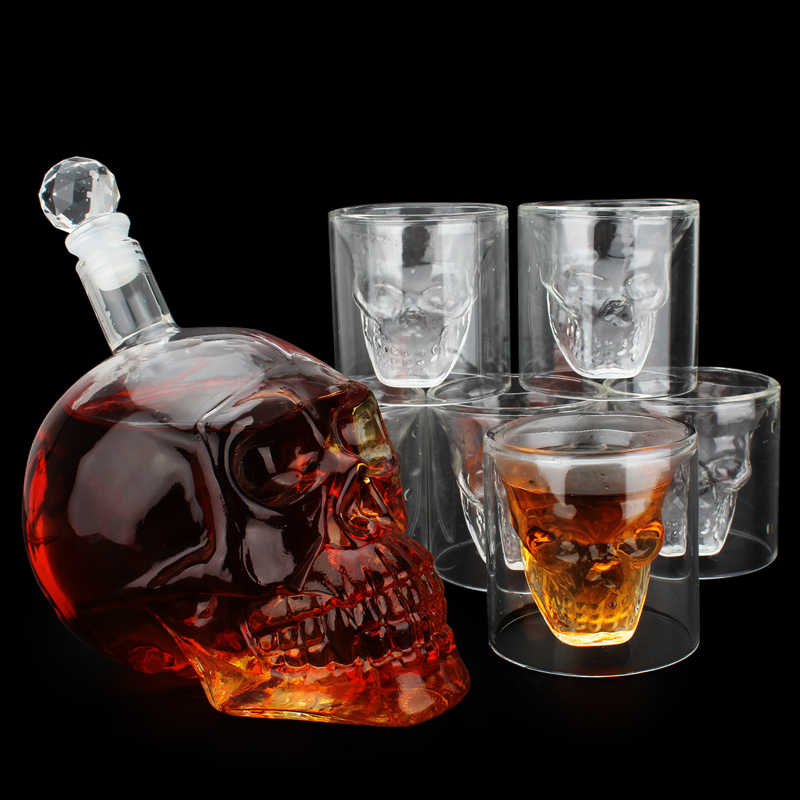 7pcs/set Crystal Skull Shot Glasses Cup Set with 550ml Wine Glass Bottle Whiskey Decanter Home Bar Vodka Drinking Cups Gift