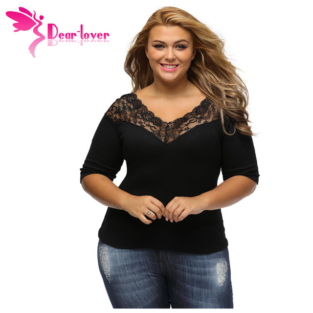 60c7c6bb4ae22 Dear Lover plus size tops Autumn 2018 Off Shoulder V Lace Neckline Spliced  Curve 3 4 Sleeve Black Blouse Female Shirts LC25914
