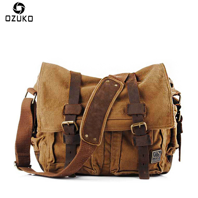 OZUKO Men Vintage Canvas messenger bag High Quality Male Military Canvas Shoulder Crossbody Bags Fashion Casual Men's Travel Bag high quality canvas leather men postman bag wholesale messenger bag vintage canvas shoulder belt bags travel bags for men