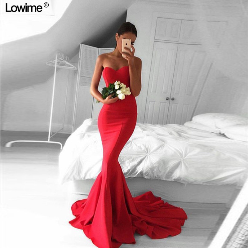 Sexy sirène femmes robe De soirée longues robes De bal chérie rouge robe De bal 2018 balayage Train Vestidos De Graduacion