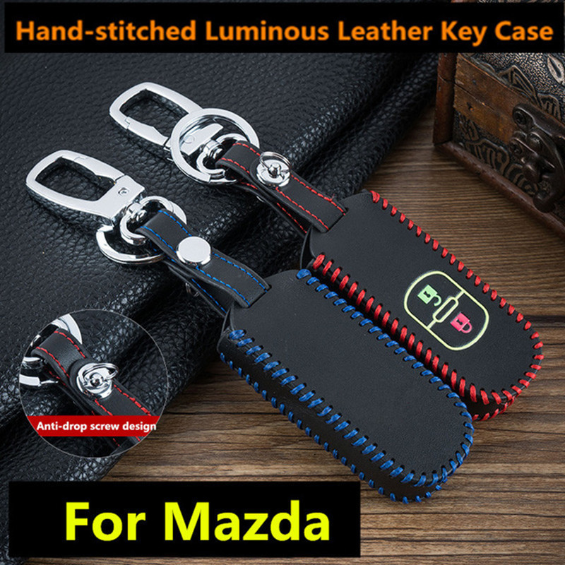 Luminous Leather keychain Car Remote Key Case Cover For Mazda 6 Mazda 3 Axela Atenza CX-5 CX5 2017 2016 2015