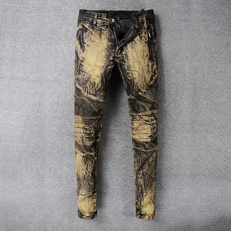 Yellow Coating Fashion Jeans Men Cargo Pants Balplein Brand Designer Men Jeans Slim Fit Cotton Denim Motor Biker Jeans Homme