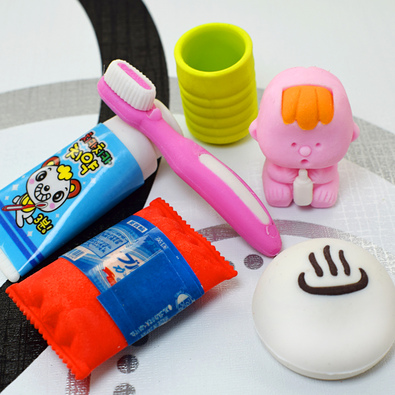6Pcs/Set Kawaii Lovely Toothpaste Erasers For School Kids Gifts Removable Teeth Rubber School Office Correct Stationery Supplies