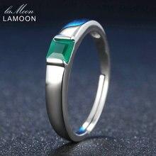 LAMOON Clásico Pricess cut 4mm 0.23ct Ágata Calcedonia Verde Plata de Ley 925 Anillo de Bodas de Platino de La Joyería S925 LMRI006